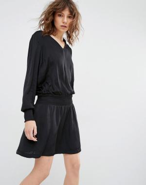 Gestuz Платье с эластичной талией и манжетами Bree. Цвет: черный
