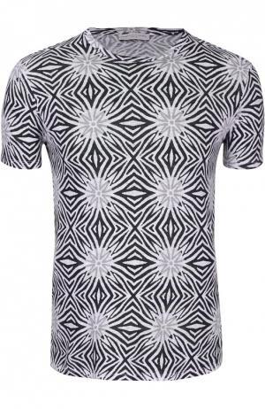 Льняная футболка с геометрическим принтом Daniele Fiesoli. Цвет: черно-белый