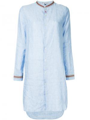 Платье-рубашка с воротником-стойкой Jupe By Jackie. Цвет: синий