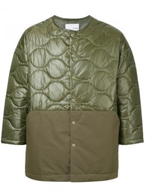 Стеганая приталенная куртка Yoshiokubo. Цвет: зелёный