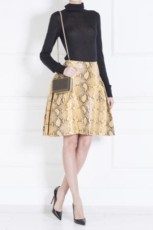 Кожаная юбка Simone Rocha. Цвет: горчичный, шоколадный
