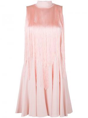 Платье с бахромой Giamba. Цвет: розовый и фиолетовый