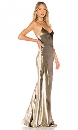 Макси платье Michelle Mason. Цвет: металлический золотой