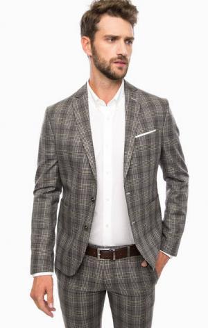 Пиджак в клетку с накладными карманами Cinque. Цвет: серый