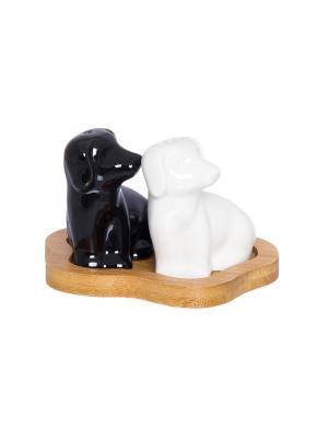 Набор для специй Лабрадоры черно - белые Elan Gallery. Цвет: черный, белый, коричневый