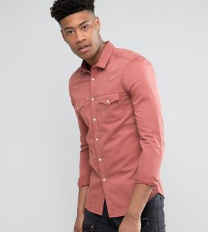 ASOS Розовая джинсовая зауженная рубашка в стиле вестерн TALL. Цвет: розовый