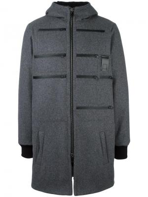 Пуховое пальто с капюшоном Letasca. Цвет: серый