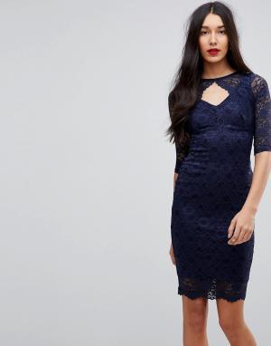 Jessica Wright Кружевное платье-футляр миди с вырезом. Цвет: черный
