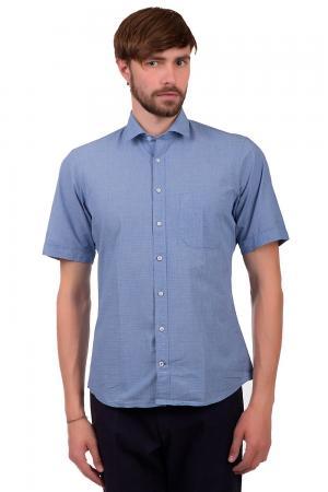 Рубашка с коротким рукавом Olymp. Цвет: синий