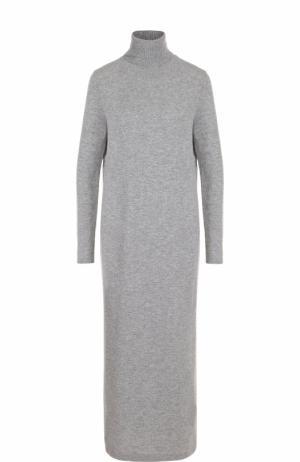 Платье-макси из смеси шерсти и кашемира с высоким воротником Allude. Цвет: серый