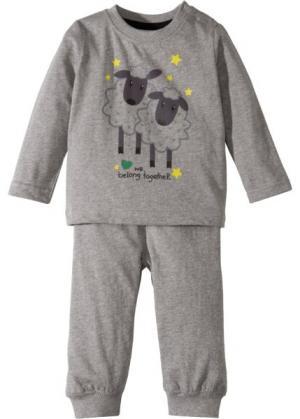 Для малышей: футболка с длинным рукавом + трикотажные брюки (2 изд.), биохлопок (светло-серый меланж) bonprix. Цвет: светло-серый меланж