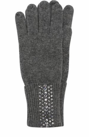 Кашемировые перчатки с отделкой из страз Swarovski William Sharp. Цвет: темно-серый