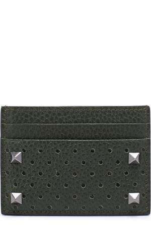 Кожаный футляр для кредитных карт с перфорацией Valentino. Цвет: хаки