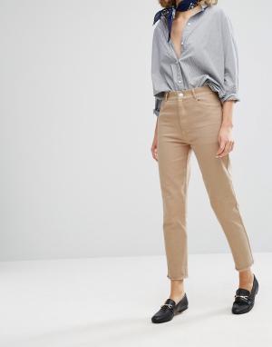 Vale Укороченные джинсы с завышенной талией и необработанным краем. Цвет: рыжий