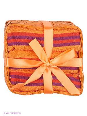 Набор салфеток в подарочной упаковке 3 предмета 30х30 оранж полоску La Pastel. Цвет: оранжевый