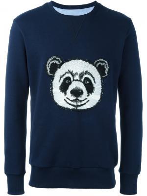 Толстовка с вышивкой панды Lc23. Цвет: синий