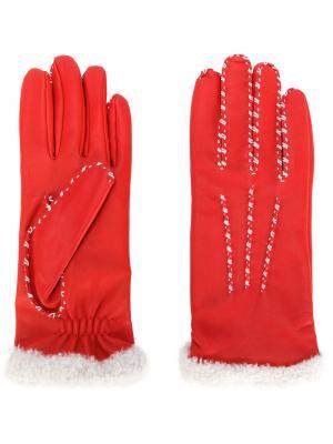 Перчатки с контрастными стежками Agnelle. Цвет: красный