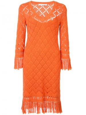 Вязаное платье с V-образным вырезом Trina Turk. Цвет: жёлтый и оранжевый