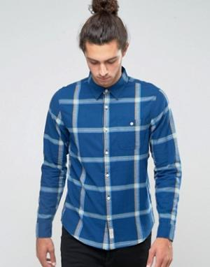 Hollister Фланелевая рубашка слим в клетку. Цвет: темно-синий