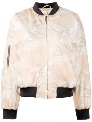 Камуфляжная куртка бомбер Ganni. Цвет: телесный
