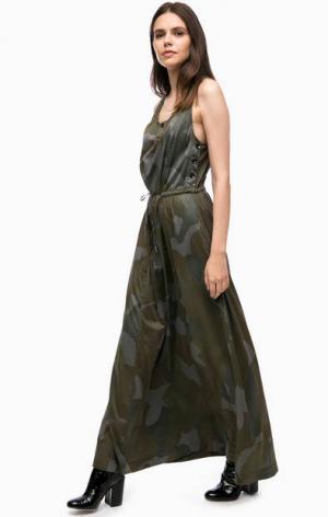 Длинное платье с камуфляжным принтом G-Star Raw. Цвет: хаки