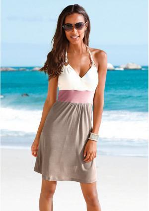 Пляжное платье BEACH TIME. Цвет: серо-коричневый/кремовый