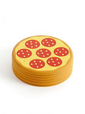 Подставка под стаканы Pizza 6шт. Balvi. Цвет: красный, горчичный