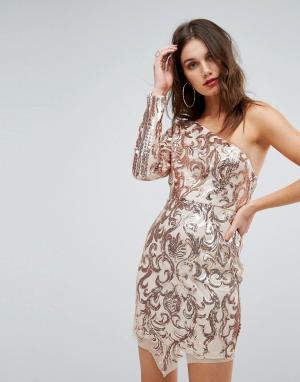 Love Triangle Платье мини на одно плечо с пайетками. Цвет: золотой