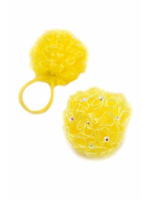 Резинка-сфера  детская со стразами желтая 2 шт. JD.ZARZIS. Цвет: желтый