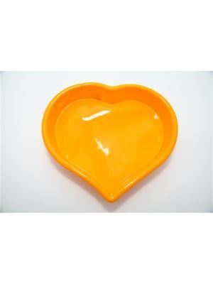 Форма силиконовая 25x22x4,5см, Сердце. Vetta. Цвет: желтый