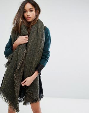 Seint Большой шарф-накидка цвета хаки. Цвет: зеленый