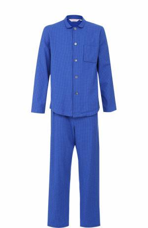 Хлопковая пижама с принтом houndstooth Derek Rose. Цвет: голубой