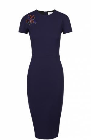 Платье-футляр с контрастной цветочной нашивкой Victoria Beckham. Цвет: синий