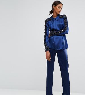Starry Eyed Tall Атласные брюки в пижамном стиле. Цвет: темно-синий