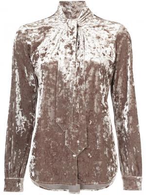 Бархтная блузка с завязками на шее Lagence L'agence. Цвет: телесный