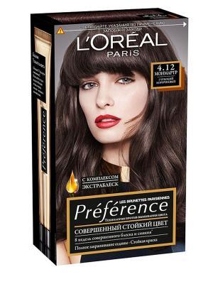 Стойкая краска для волос Preference, с комплексом Экстраблеск, оттенок 4.12, Монмартр L'Oreal Paris. Цвет: темно-коричневый