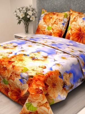 Комплект постельного белья Letto B129-7, бязь, семейный. Цвет: бежевый, оранжевый, голубой
