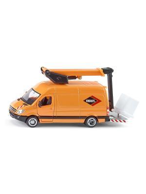 Машинка Мерседес с автовышкой SIKU. Цвет: светло-оранжевый, желтый, оранжевый