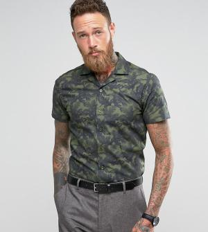 Noose & Monkey Узкая рубашка с короткими рукавами и отложным воротником Monke. Цвет: зеленый