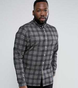 ASOS Черная приталенная джинсовая рубашка в клетку PLUS. Цвет: черный