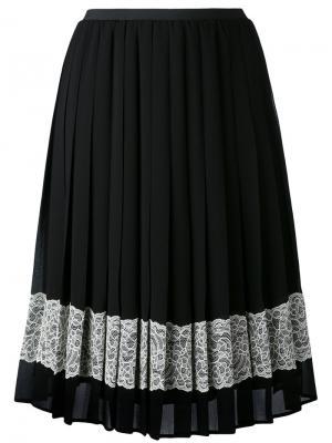 Декорированная креповая юбка Red Valentino. Цвет: чёрный