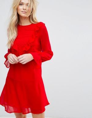 Y.A.S Платье с длинными рукавами и оборками Riku. Цвет: красный