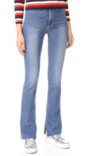 Расклешенные джинсы Micro с высокой посадкой Joe's Jeans. Цвет: умеренно-синий с эффектом поношенности