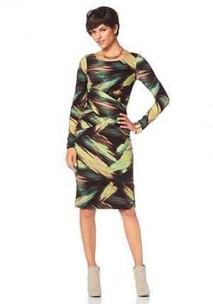Платье BRUNO BANANI. Цвет: с рисунком/черный/бежевый/зелено-желтый