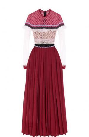 Платье-макси с кружевным лифом и юбкой в складку self-portrait. Цвет: розовый