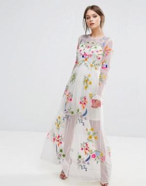 Frock and Frill Платье макси с вышивкой и завязкой на талии. Цвет: белый
