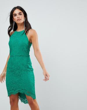Adelyn Rae Кружевное платье с юбкой годе Louise. Цвет: зеленый