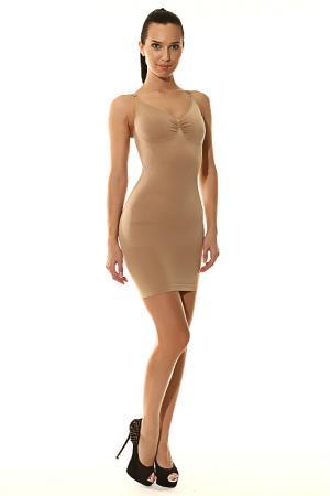 Утягивающее платье Julie France. Цвет: бежевый