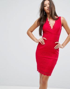 Lipsy Кружевное облегающее платье с V-образным вырезом. Цвет: красный
