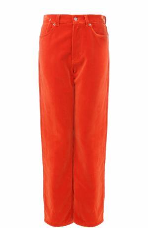 Бархатные широкие джинсы Dries Van Noten. Цвет: оранжевый